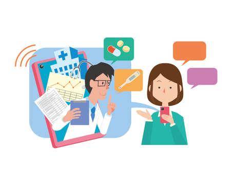 Image illustration of online medical care Stock Illustratie
