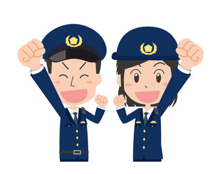 Set of male and female police officers posing guts