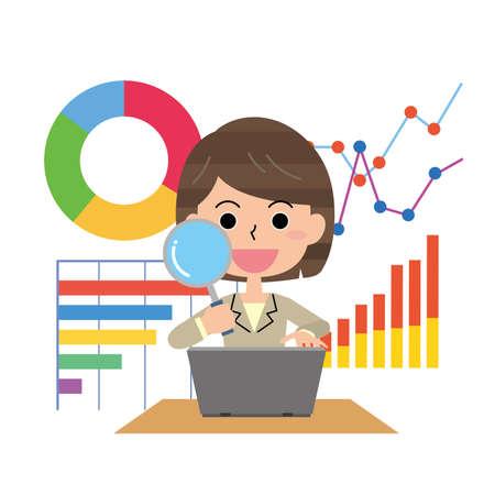 Women analyzing data Stock Illustratie