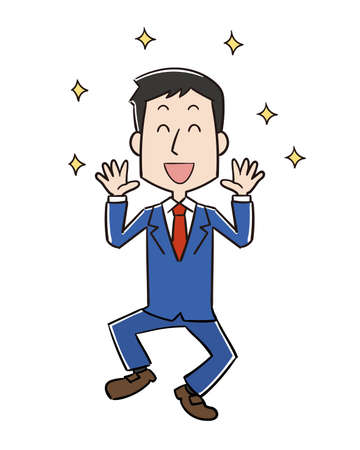 Happy and jumping male office worker