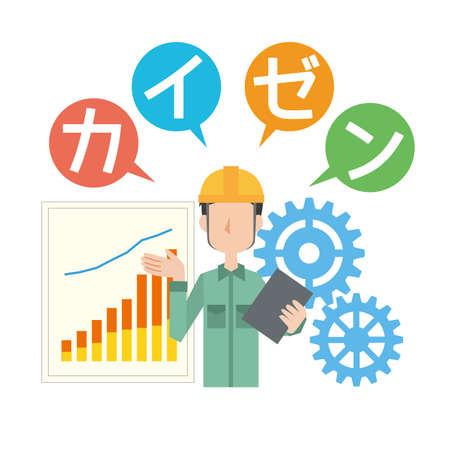 Men thinking about improving work efficiency Stock Illustratie