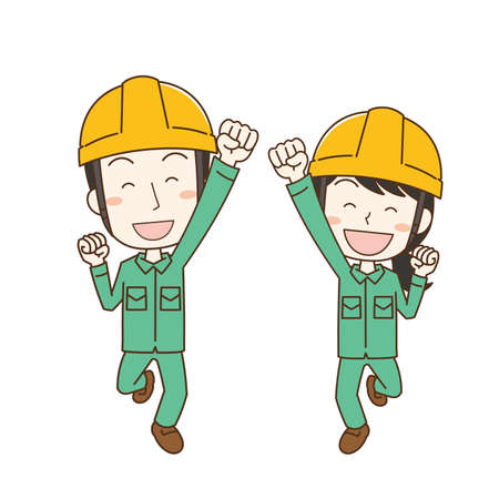 Worker man and woman wearing helmet jumping with joy and smile Stock Illustratie