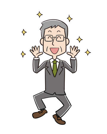 a middle-old male office worker who jumps with joy