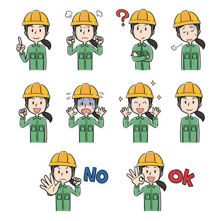 Female pose expression illustration set of helmet and work clothes