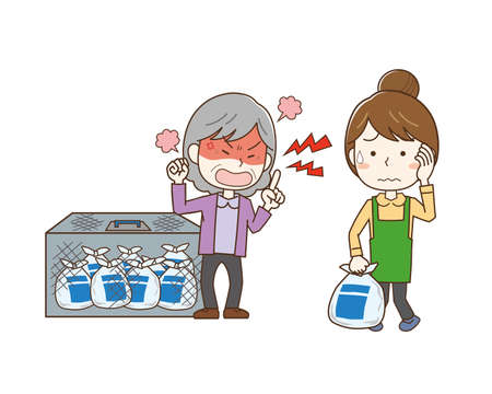 An elderly woman who gets angry at a garbage-out rule and a woman who is in trouble