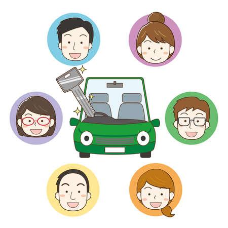 Car Sharing Image Illustrations