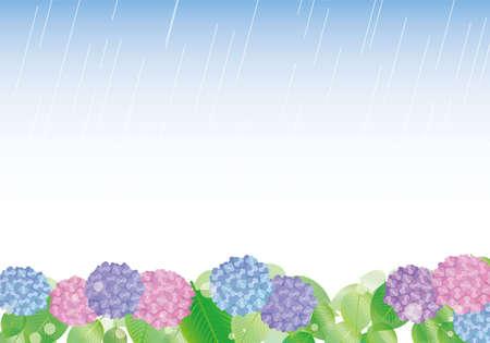 Hydrangea and rain frame illustration Stock Illustratie