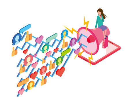 Image of influencer marketing on the Internet and SNS Stock Illustratie