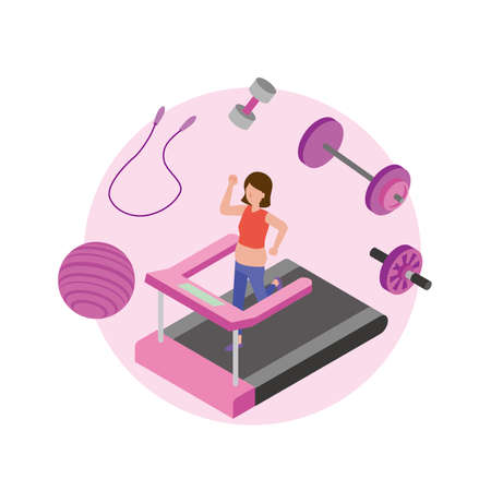 Woman working on diet and working out in gym