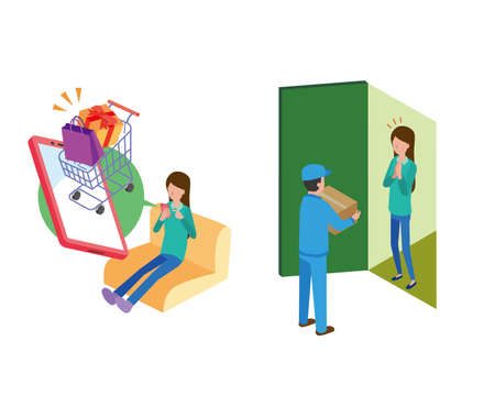 Woman shopping online and receiving from delivery man
