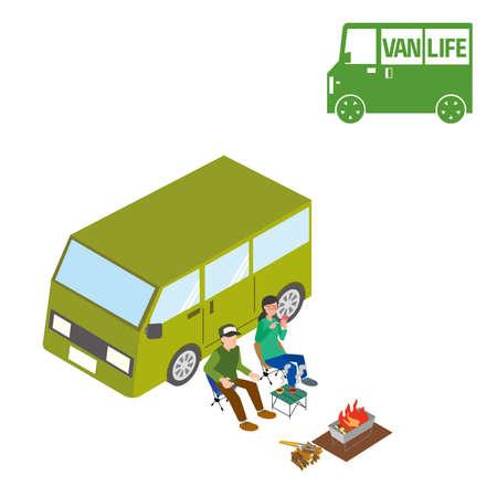 Illustration of a couple enjoying a car trip Stock Illustratie