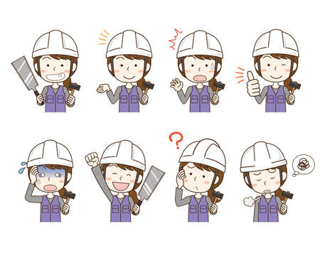 Expression pose set of construction worker woman wearing helmet