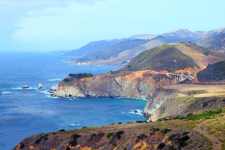 Big Sur panorama with Bixby Bridge in the distance Stock Photo