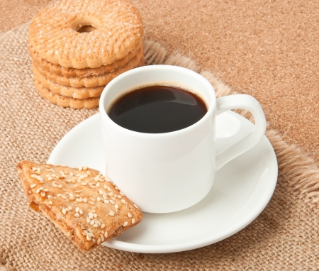 Flavored coffee and cookies photo