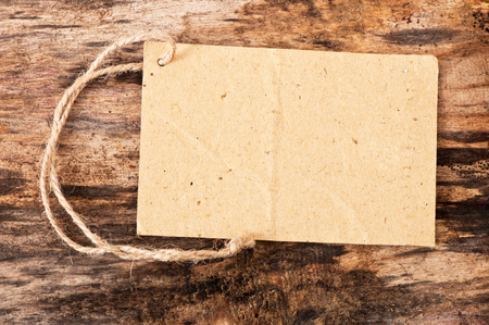 price tag label on wooden background photo