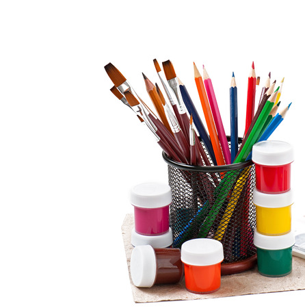 pencils, brushes, paints for drawing photo