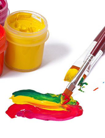 brushes, paints for drawing on a white background photo