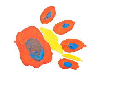 Fußabdruck eines Tieres, einer Kinderzeichnung