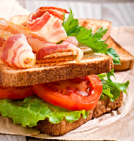 bap: hot big sandwich, toast and bacon with tomato