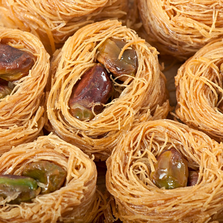 baklawa: Eastern dessert baklawa with pistachio nuts Stock Photo