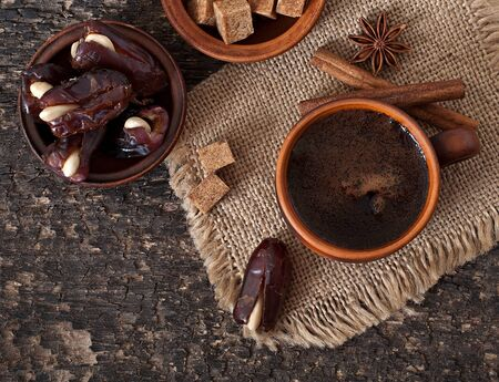 aromatic coffee and eastern dates Stock Photo