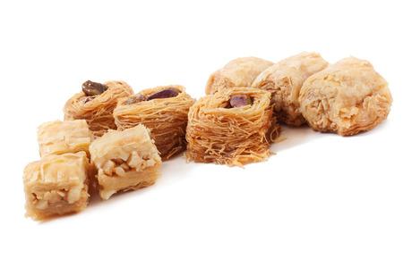 baklawa: Eastern dessert baklawa with pistachio nuts.