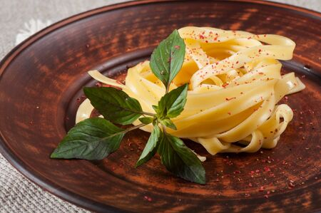 Fettuccine pasta decorated with basil on a clay plate and fabric background. Stok Fotoğraf