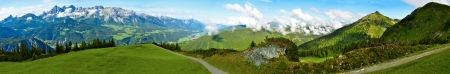 Beautiful panorama of Alps in summer