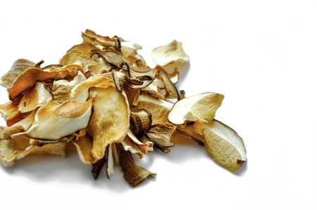 close up of dried mushrooms, isolated Stock Photo