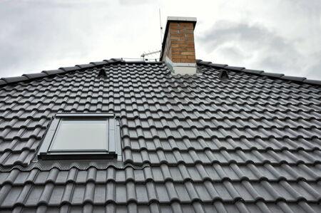 Black concrete modern roof tiles