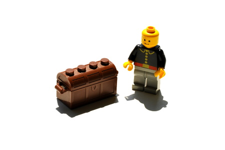 coffer:  man with treasure in coffer Stock Photo