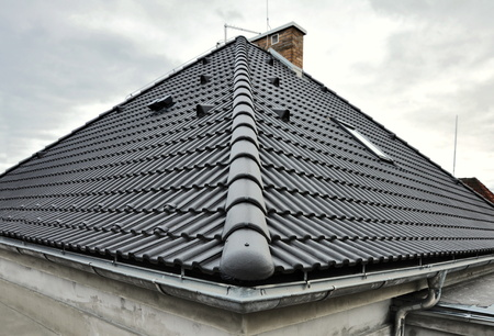 Black concrete modern roof tiles