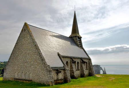 monet: view from Etretat chapel, France, Normandy