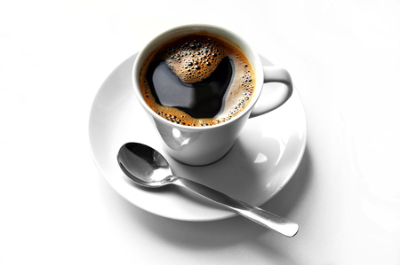 cup of great coffee on white