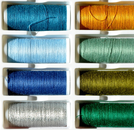 detail of embroidery yarn bobbins