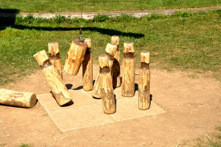 outdoor game skittles, wood form Stock Photo