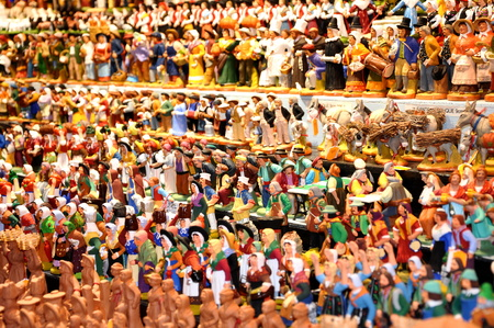 a lot of wooden figures in the market Stock Photo