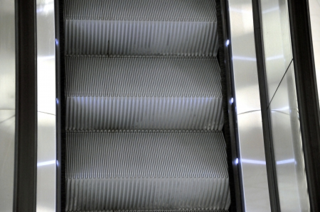 long escalators in shopping centre