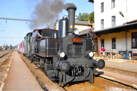 old locomotive in railway station