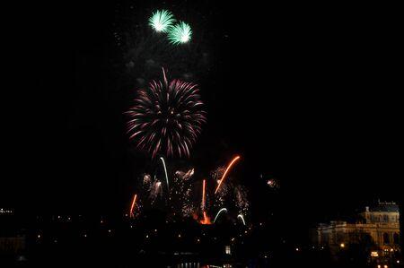 Great New Year Firework in Prag 2014 Stock Photo - 24992493