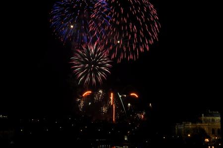 Great New Year Firework in Prag 2014 Stock Photo - 24992495