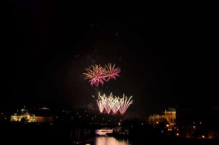 Great New Year Firework in Prag 2014 Stock Photo - 24992535