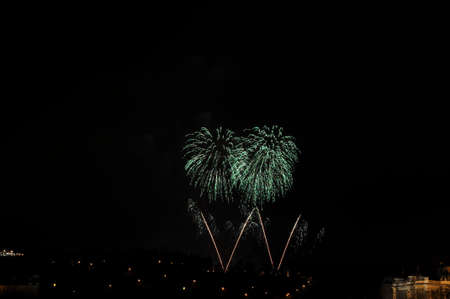 Great New Year Firework in Prag 2014 Stock Photo - 24992649