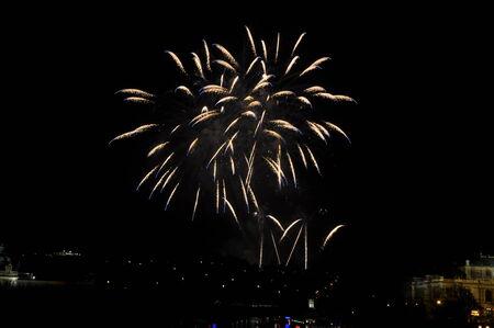 Great New Year Firework in Prag 2014 Stock Photo - 24824643
