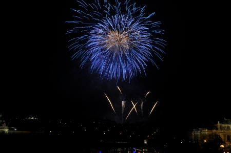 Great New Year Firework in Prag 2014 Stock Photo - 24824644