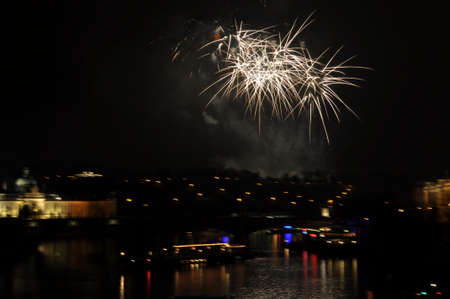 Great New Year Firework in Prag 2014 Stock Photo - 24825394