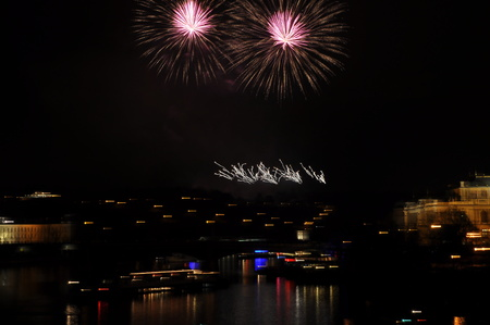 Great New Year Firework in Prag 2014 Stock Photo - 24825395