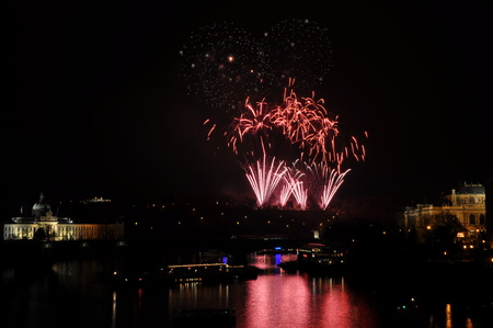 Great New Year Firework in Prag 2014 Stock Photo - 24825397