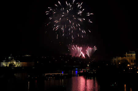 Great New Year Firework in Prag 2014 Stock Photo - 24824616