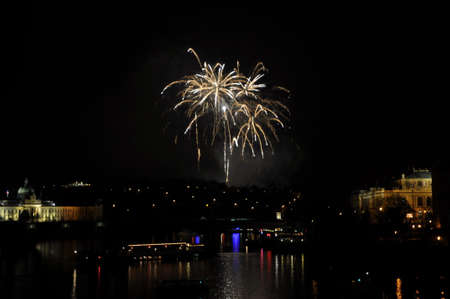 Great New Year Firework in Prag 2014 Stock Photo - 24824623